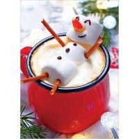 Hot chocolate with melted snowman! Hot chocolate with a marshmallow snowman! Christmas Drinks, Christmas Goodies, Christmas Desserts, Holiday Treats, Christmas Baking, Holiday Recipes, Christmas Holidays, Christmas Morning, Kids Christmas Treats