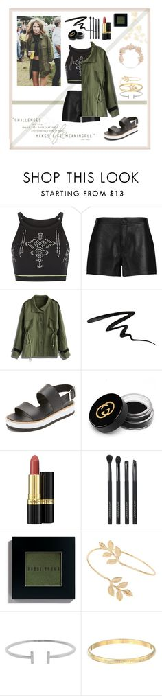 """Festival style"" by inthenude ❤ liked on Polyvore featuring New Look, J Brand, Chicwish, Stila, Vince, Gucci, Revlon, Japonesque, Bobbi Brown Cosmetics and Miss Selfridge"