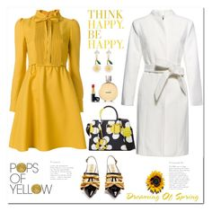 """""""Pops of Yellow Pops of Spring"""" by ellie366 ❤ liked on Polyvore featuring Valentino, Gucci, Miu Miu, Chanel, Marc Jacobs, Burberry, dresses, beltedcoats, cozychic and PopsOfYellow"""