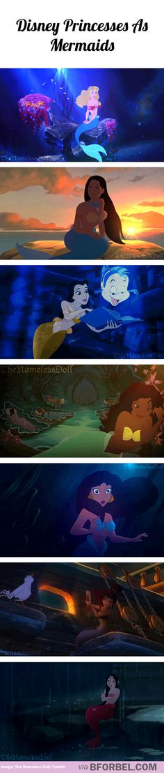 Disney Princesses as mermaids. I like how it captures their personalities a little more than some of the collective princess-mermaid fanart.