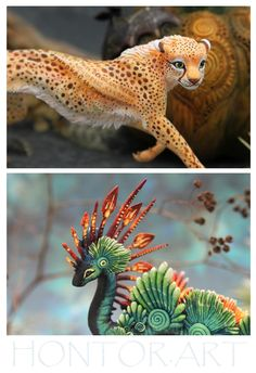Polymer Clay Sculptures, Sculpture Clay, Polymer Clay Crafts, Animal Sculptures, Alien Creatures, Fantasy Creatures, Mythical Creatures, Big Cats Art, Cat Art