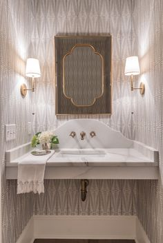 2 Vanities for master with shaped marble and wall faucet