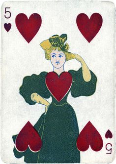 Vintage Playing Card, 5 of Hearts by Vintage Game Pieces & Playing Cards | Art Posters & Prints