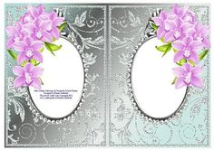 Pink Orchids with Aqua Diamonds Double Frames on Craftsuprint - Add To Basket!