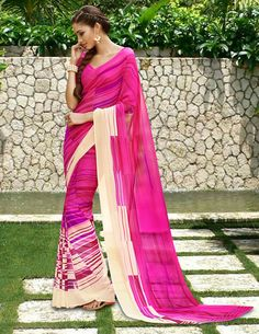 Pink Georgette Printed Saree With Blouse 58192