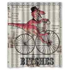 Funny Bath Curtain Custom Dinosaur Cycling Bicycle Fabric Shower Curtain 60x72