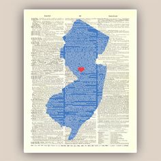 New Jersey State New Jersey Map Print Heart State by PrintLand, $15.50