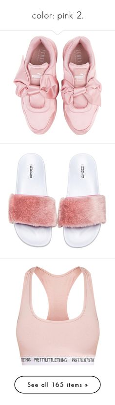 """""""color: pink 2."""" by originalimanim ❤ liked on Polyvore featuring shoes, sneakers, flats, pink trainers, puma trainers, flat shoes, pink bow flats, puma flats, sandals and rubber sole sandals"""