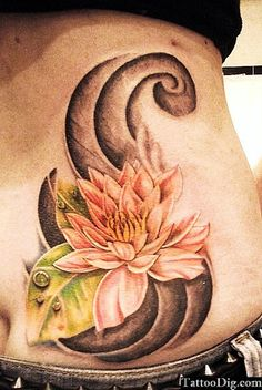 Water Lily Lotus Flower Stomach Abdomen Tattoo