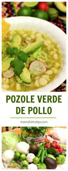 This green pozole with chicken recipe is exactly like we made it at home in Mexico when I was growing up. A delightful combination of chicken, tomatillos, cilantro, garlic & spices. Photos and step by step instructions included. Baby Food Recipes, Mexican Food Recipes, Soup Recipes, Cooking Recipes, Healthy Recipes, Posole Recipes, Mexican Desserts, Freezer Recipes, Cooking Bacon