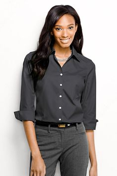 Women's 3/4-sleeve No Iron Broadcloth Blouse from Lands' End. Love this color.  3/4 sleeve version is great for summer.