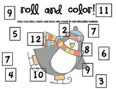 JOYOUS!!! Love! Love! Love! Adorable!!! Free!!!  Winter theme roll the dice and color!!! Awesome!!!