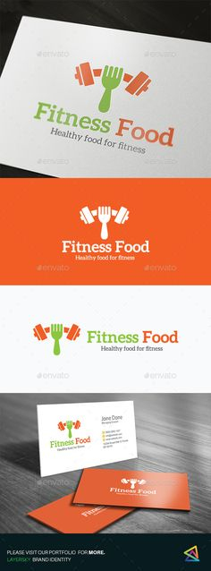 Fitness Food logo template #dietary #drink #fitness #food #fork #fruit #gym #health #$29