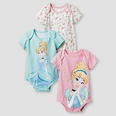 Disney® Cinderella Baby Girls' 3 Piece Bodysuit Set - Blue