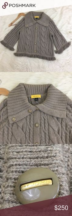 """NWOTSt John Fringe Wool Blend Cardigan Sweater St. John Women's medium fringe cardigan sweater  NWOT - Retails at $650-700  • 80% wool, 20% polymide • Tan/Taupe Color • Cable knit • Fringe on bottom and on sleeve • Button Down with large collar • All the buttons say """"St. John"""" and the is a little logo of the back of the collar that says St. John • Super soft!!! • Dry clean only • New without tags  Length: 23"""" Armpit to armpit: 22"""" Arm length: aprox. 20""""  NO lowball offers NO modeling NO…"""