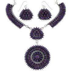 Sterling Silver Needlepoint Magenta Turquoise Necklace And Earring Set