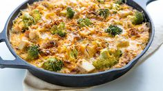 A healthy new twist on chicken and broccoli casserole, this simple skillet is prepped on the stovetop in a cast-iron skillet, then baked until gooey and golden.