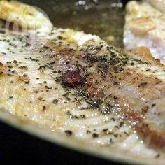 Pan-fried sole fillets with parsley and garlic Allrecipes, Fish Dishes, Parsley, Seafood, Garlic, Pork, Dinner, Cooking, Foods