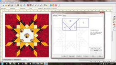 Feathered Star -- Star of Chamblie tutorial for creation of paper pieceing pattern in EQ7