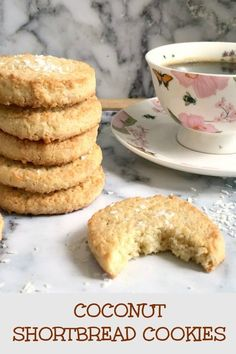 Shortbread Cookies a quick fix when you feel like snacking and your sweet tooth is craving something yummy. Soft almost melting in your mouth buttery full of coconut flavour these cookies are absolutely delicious! Shortbread Recipes, Shortbread Cookies, Yummy Cookies, Cookies Soft, Baking Cookies, Biscuit Cookies, Sandwich Cookies, Köstliche Desserts, Best Dessert Recipes