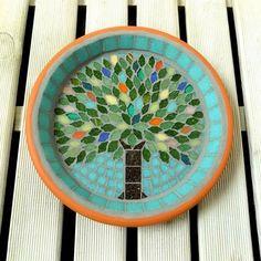 Summer Jewel Tree Mosaic Garden Bird Bath