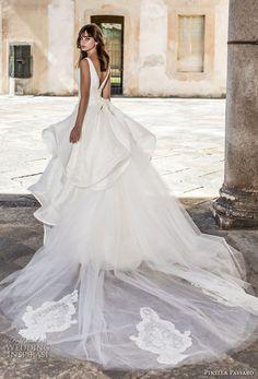 pinella passaro 2018 bridal sleeveless v neck wrap over bodice simple romantic peplum princess ball gown a line wedding dress open v back royal train (13) bv
