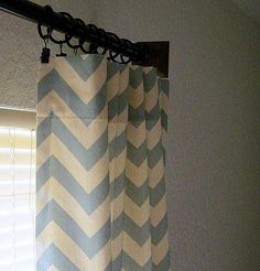 Pair of 2 panels 50 x 84 inch Designer Custom Drapes Curtains Spa Blue and Natural Chevron Zig Zag. $115.00, via Etsy.