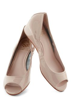 I Mean Fizz-ness Wedge in Champagne - Pink, Solid, Pastel, Wedge, Peep Toe, Low, Leather, Variation