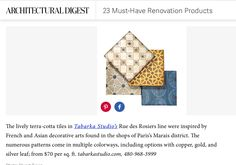 Tabarka Studio Artisan Tiles are one of 23 must-Have Renovation Products