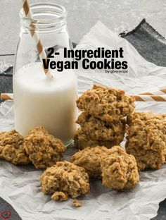 2-ingredient vegan cookies are so good and you can eat as many as you can because these are healthy. So easy to make too!