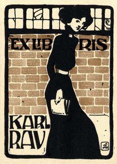 Ex libris by  Ludwig Hohlwein (Ger)(1874-1949) for Karl Rau, 1905c.