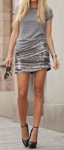 Silver sequins + grey tee