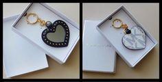 New Michael Kors Studded Heart Mirror Leather Key Charm Navy/White in Gift Box #MichaelKors