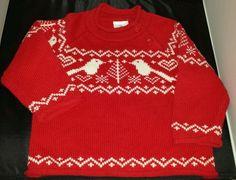 Hanna Andersson 70 Red Fair Isle Sweater Bird Christmas Tree 2T 24 months EUC #HannaAndersson #sweater #DressyHoliday