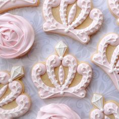 Elegant Pink & White Princess Crown and rosette Cookies - One Dozen Decorated Sugar Cookies