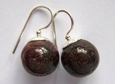 Big rustic Ruby / Pink Sapphire earrings 925 silver, by PinkOwlJewelry