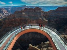 GRAND CANYON SKYWALK Grand Canyon West (Hualapai Reservation), Arizona  Sure, the views of the Grand Canyon are spectacular from pretty much any angle, but none are as thrilling as looking through the glass walkway that juts out over the Canyon's western rim; the horseshoe-shaped path is suspended 4,000 feet (shudder) above the canyon floor