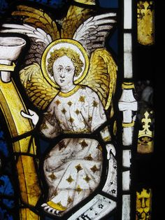 York Minster angel stained glass.