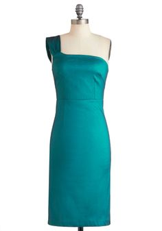 Aquamarine Accolades Dress - Long, Green, Solid, Cocktail, Sheath / Shift, One Shoulder, Vintage Inspired, Tis the Season Sale, Wedding, Party, Formal
