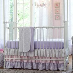 Bedroom, Beautiful Lilac And Silver Gray Damask Three Piece Crib Bedding Set In Pink Toddler Bedroom Design With White Chandelier And Pink Butterfly Painting On Pink Wall Also White Floral Pattern Curtain Design Ideas: Lovely Carousel Bedding Set For Your Cute Baby Bedroom Design