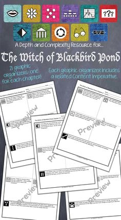 Depth and Complexity graphic organizers for each chapter of The Witch of Blackbird Pond. $