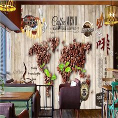 3D Coffee world map wallpaper - 120W x 75H inches / Non-woven Paper