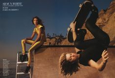 "Olympic snowboarder Shaun White with model Daria Werbowy - photographed by Annie Leibovitz for ""Dream Team"" editorial, Vogue April Olympians 2008."