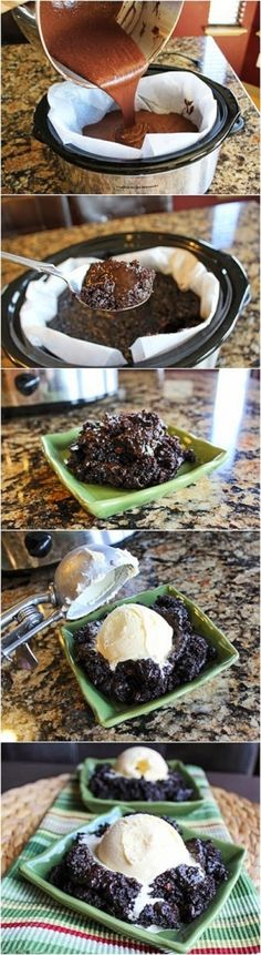 Quick And Easy Crock Pot Chocolate Lava Cake Recipe. This Cake Is Perfect! It's Seriously So Easy To Make... The Best Part Is The Oozing Gooey Center And A Crisp Chocolate Outer Coating. Drool!