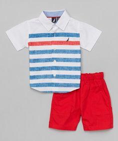 Look at this #zulilyfind! White & Blue Stripe Button-Up & Red Shorts - Infant #zulilyfinds