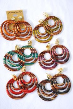 Acrylic Circle Dangle Clip-on Earrings