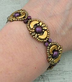 Linda's Crafty Inspirations: Bracelet of the Day: Tweaked Jolie Band - Gold & Purple
