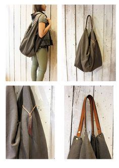 """Large Handmade Italian Canvas & Leather backpack\Tote """"City"""" di LaSellerieLimited su Etsy"""