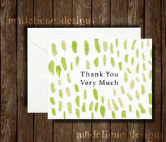 Green Dots Thank You Card  Greeting Card All by MadelieneDesigns