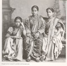Indian women dressed in jamdani and brocade clothing